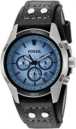 Fossil Herren-Armbanduhr Chronograph Leder schwarz Sport CH2564 -