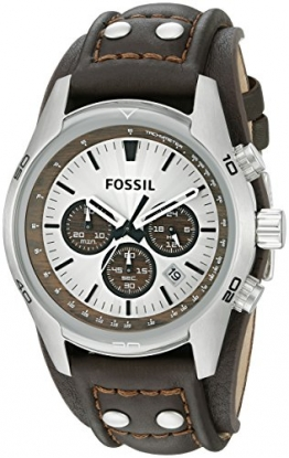 Fossil Herren-Armbanduhr Sport Chronograph Leder braun CH2565 -