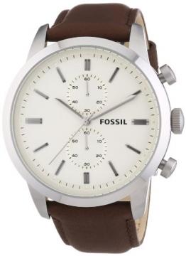 Fossil Herren-Armbanduhr XL Townsman Chronograph Quarz Leder FS4865 -