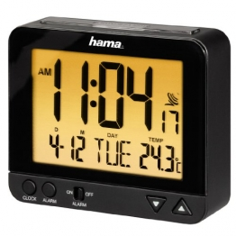 """Hama Funk-Wecker """"RC550"""" sensorgesteuerte Nachtlichtfunktion, Schlummerfunktion, schwarz, Temperatur- und Datumsanzeige - 1"""