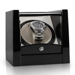 Klarstein 8PT1S Uhrenbeweger Uhrenbox (für 1 Uhr, linkslauf/rechtlauf, Sichtfenster, Kunstleder Inlay, flüsterleiser Motor) schwarz-Pianolack -