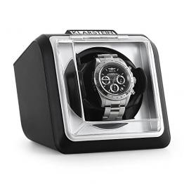 Klarstein 8PT1SR eleganter Uhrenbeweger Watchwinder (linkslauf/rechtlauf, Sichtfenster, Kunstleder, flüsterleise) schwarz -
