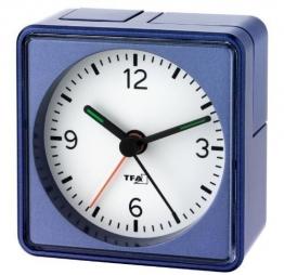 Lautlos-Wecker TFA Push Blau-Metallic Sweep-Uhrwerk ohne Ticken - 1