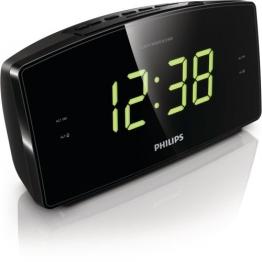 Philips AJ3400 Radiowecker mit großem Display (Digital UKW, 2 Weckzeiten, Sleep-Timer), schwarz - 1