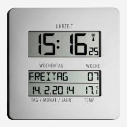 TFA Time Line Funkuhr mit Temperatur 60.4509.54, silber, übersichtliche Anzeige zur einfachen Zeitorientierung mit ausgeschriebenem Wochentag und vollständigem Datum - 1